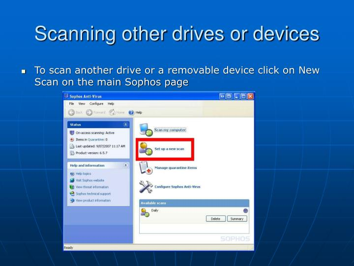 Scanning other drives or devices