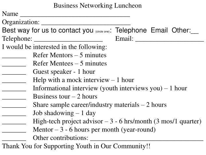 Business Networking Luncheon