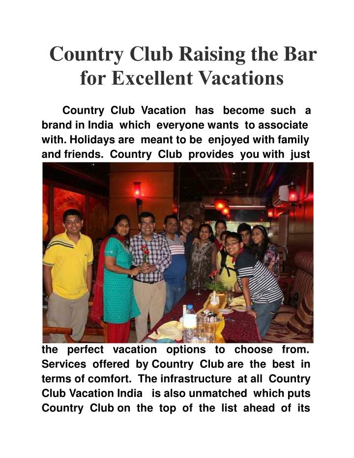 Country Club Raising the Bar