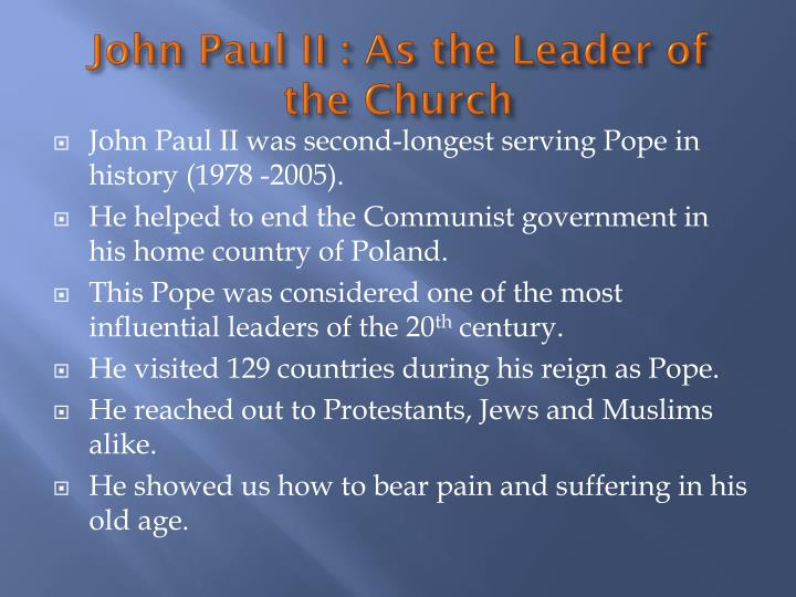 John paul ii as the leader of the church