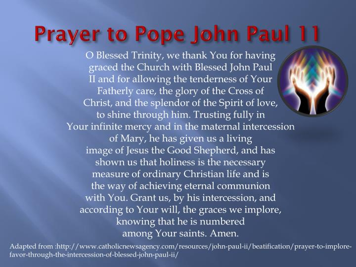 Prayer to Pope John Paul 11
