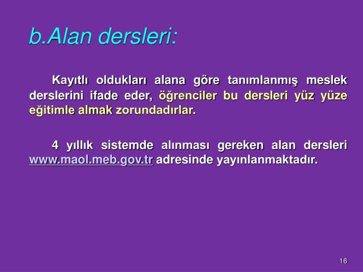 b.Alan dersleri: