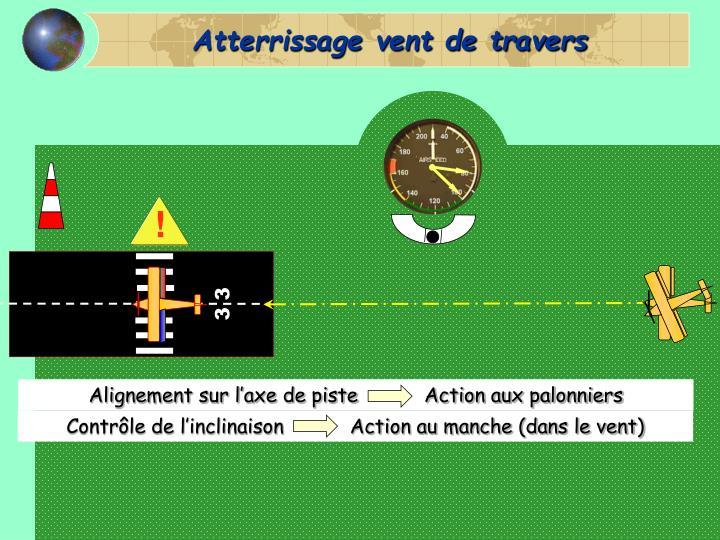 Alignement sur l'axe de piste           Action aux palonniers