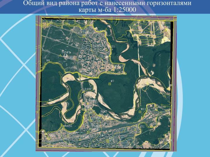 Общий вид района работ с нанесенными горизонталями карты м-ба 1:25000