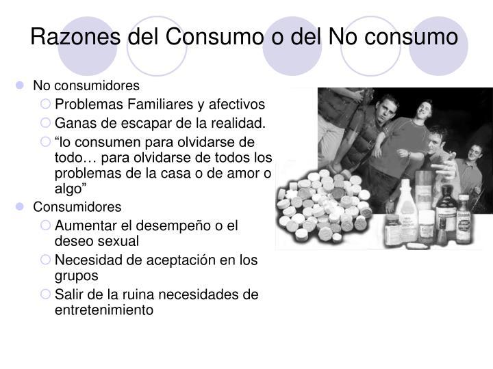 Razones del Consumo o del No consumo