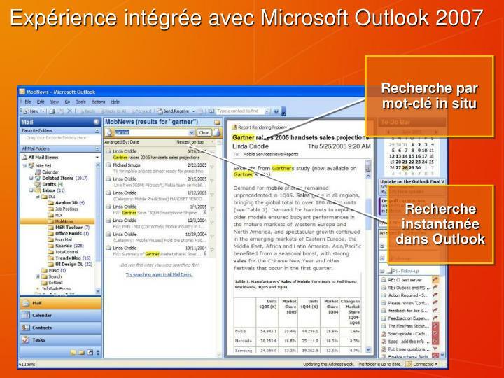 Expérience intégrée avec Microsoft Outlook 2007