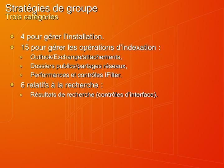 Stratégies de groupe