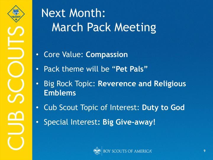 Next Month:
