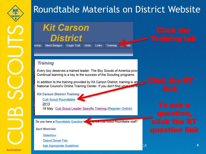 Roundtable Materials on District Website