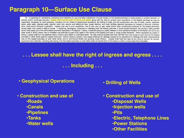 Paragraph 10—Surface Use Clause