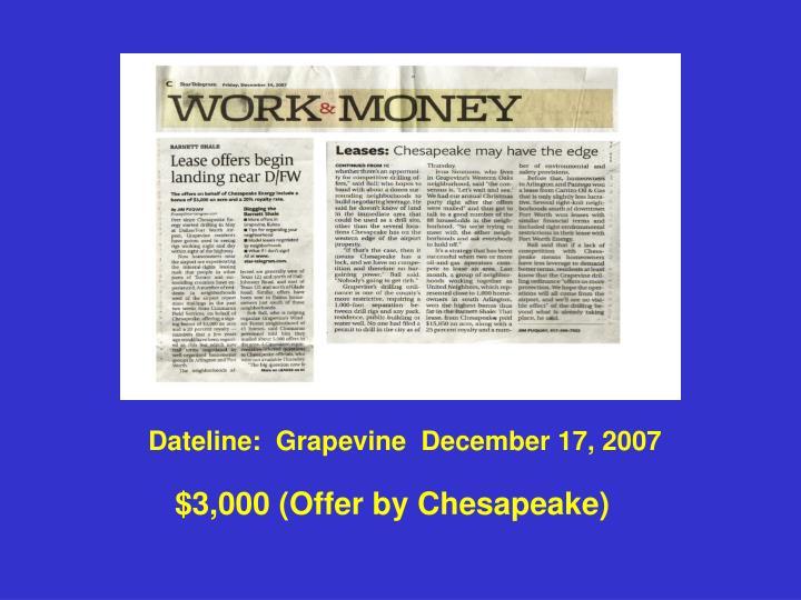 Dateline:  Grapevine  December 17, 2007