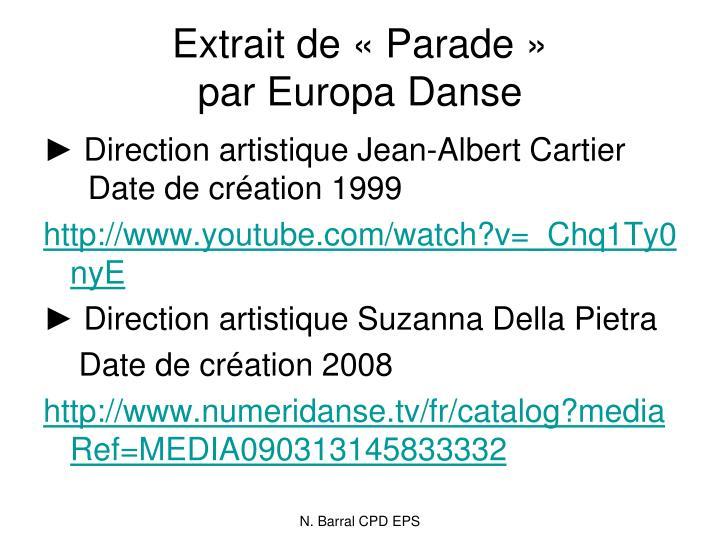 Extrait de «Parade»