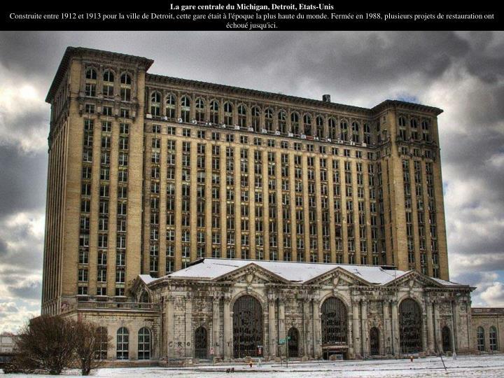 La gare centrale du Michigan, Detroit, Etats-Unis