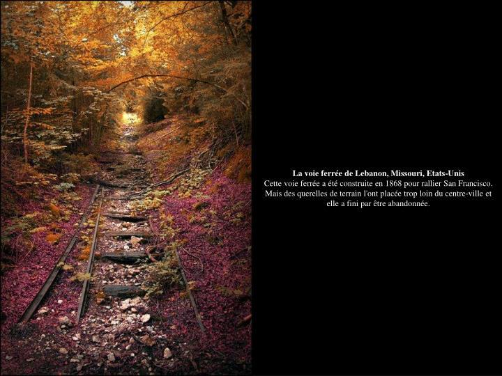 La voie ferrée de Lebanon, Missouri, Etats-Unis