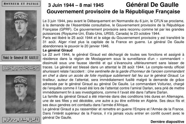 3 Juin 1944 – 8 mai 1945