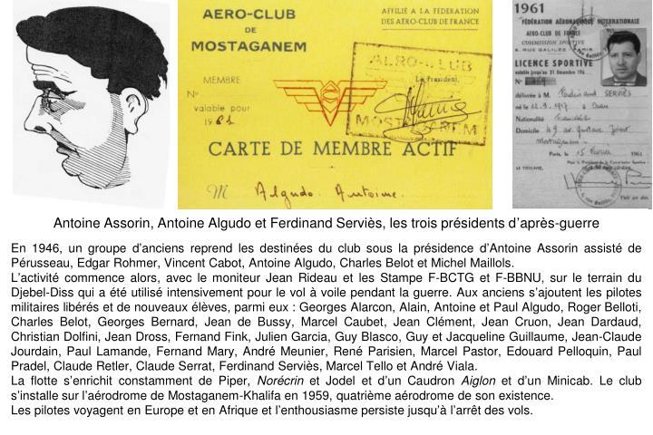 Antoine Assorin, Antoine Algudo et Ferdinand Serviès, les trois présidents d