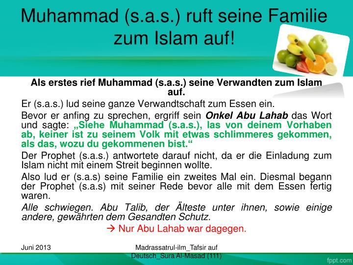 Muhammad (s.a.s.) ruft seine Familie zum Islam auf!