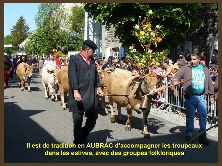 Il est de tradition en AUBRAC d'accompagner les troupeaux dans les estives, avec des groupes folkloriques