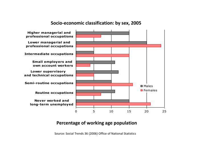 Socio-economic classification: by sex, 2005