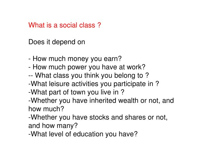 What is a social class ?