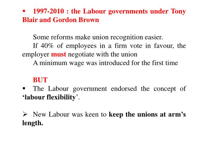 1997-2010 : the Labour governments under Tony Blair and Gordon Brown