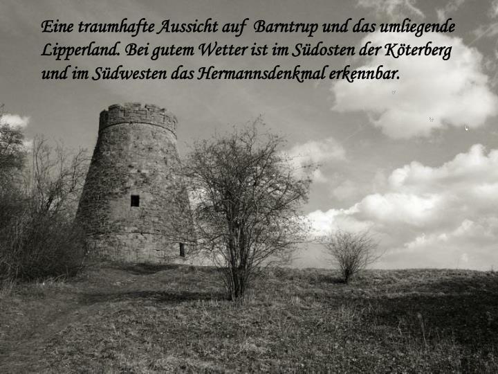 Eine traumhafte Aussicht auf  Barntrup und das umliegende Lipperland. Bei gutem Wetter ist im Südosten der Köterberg und im Südwesten das Hermannsdenkmal erkennbar.
