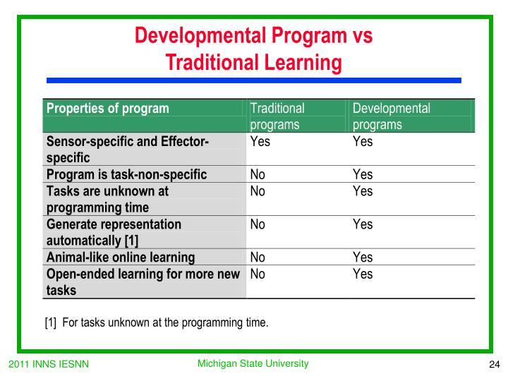 Developmental Program vs