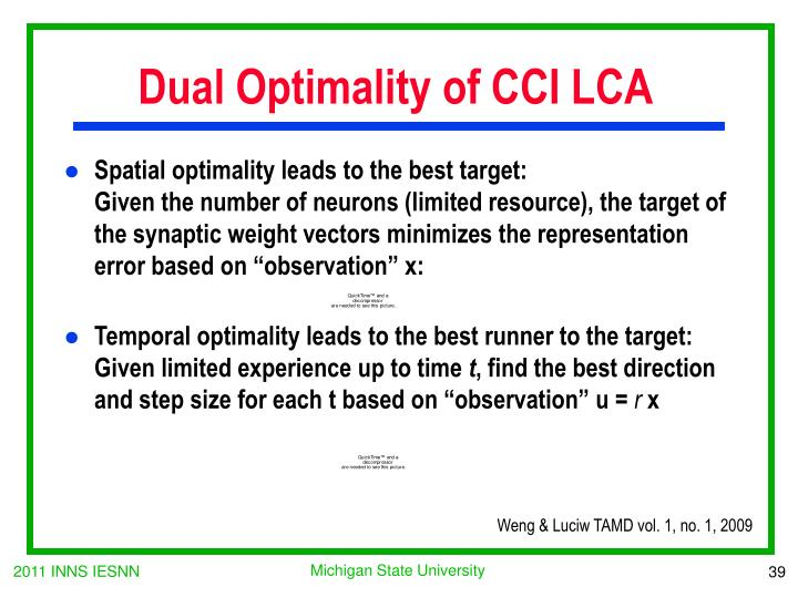Dual Optimality of CCI LCA