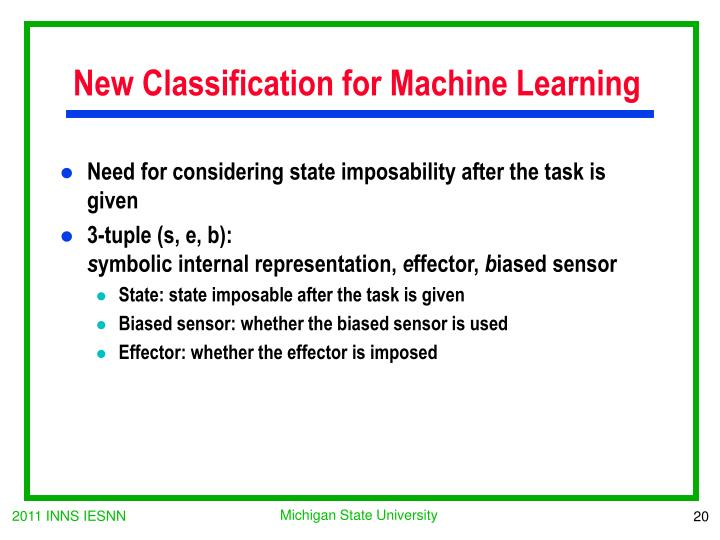 New Classification for Machine Learning