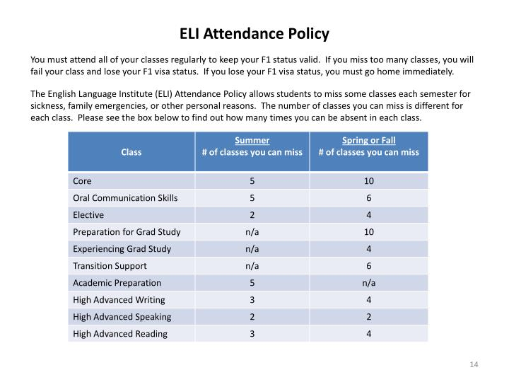 ELI Attendance Policy