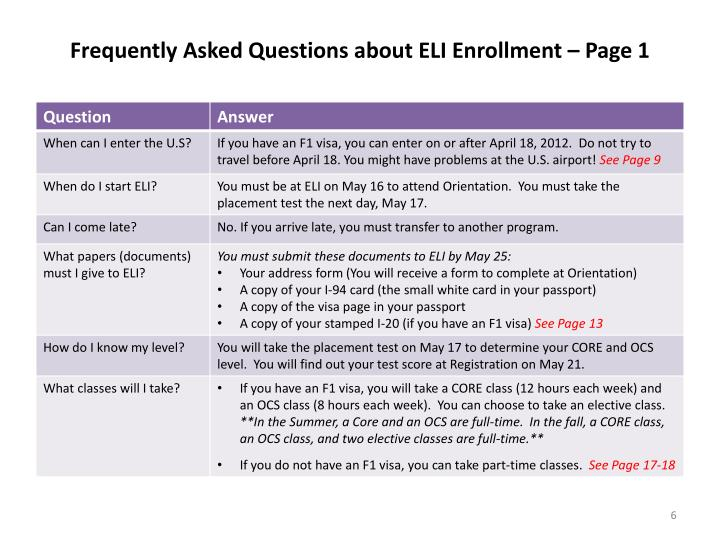 Frequently Asked Questions about ELI Enrollment – Page 1