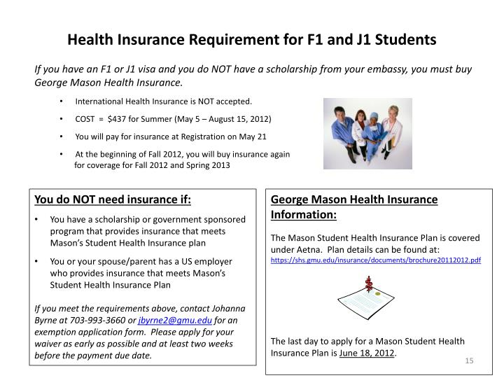 Health Insurance Requirement for F1 and J1 Students