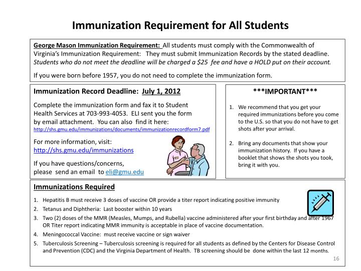 Immunization Requirement for All Students