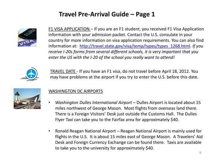 Travel Pre-Arrival Guide – Page 1
