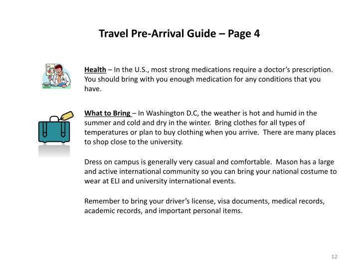 Travel Pre-Arrival Guide – Page 4
