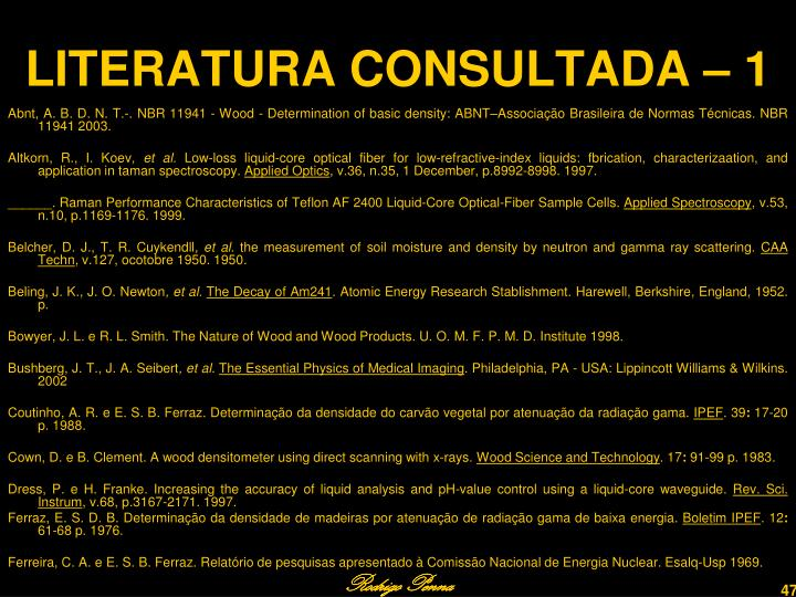 LITERATURA CONSULTADA – 1