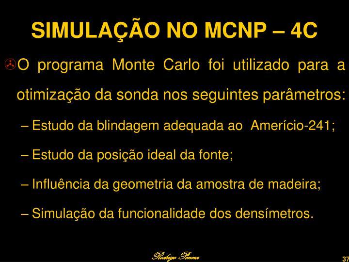 SIMULAÇÃO NO MCNP – 4C