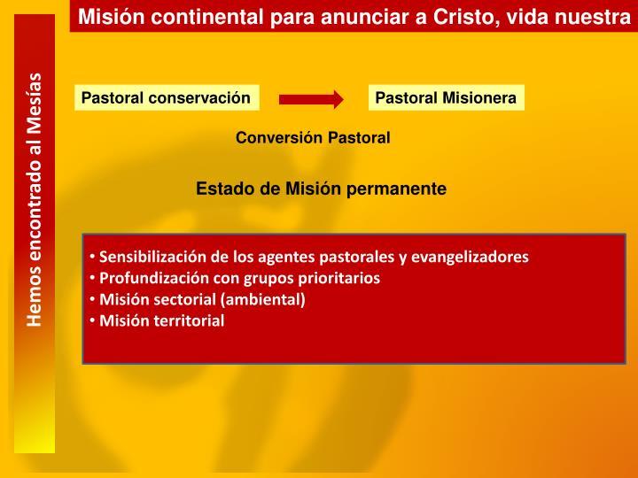 Misión continental para anunciar a Cristo, vida nuestra