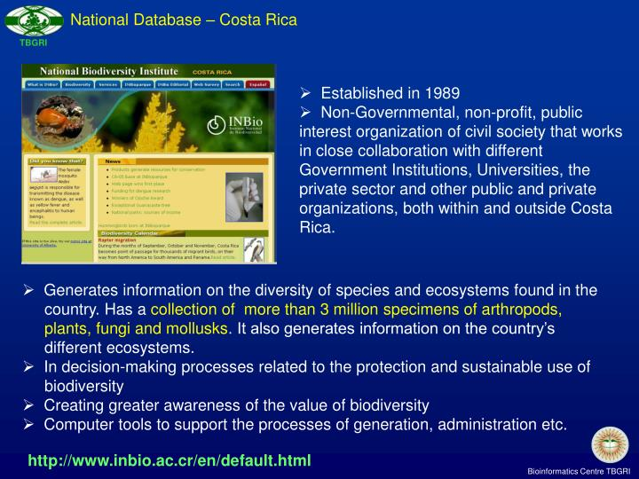 National Database – Costa Rica