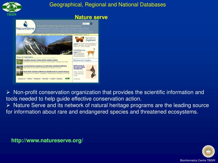 Geographical, Regional and National Databases