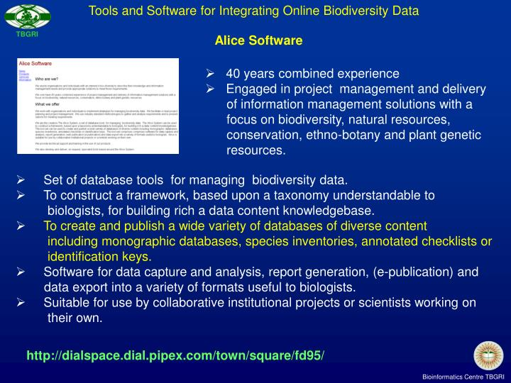 Tools and Software for Integrating Online Biodiversity Data
