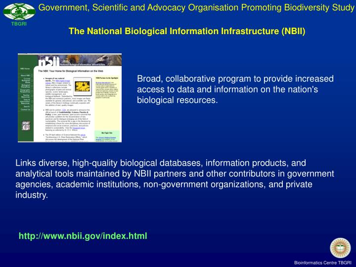 Government, Scientific and Advocacy Organisation Promoting Biodiversity Study