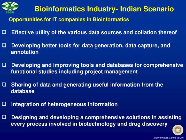 Bioinformatics Industry- Indian Scenario
