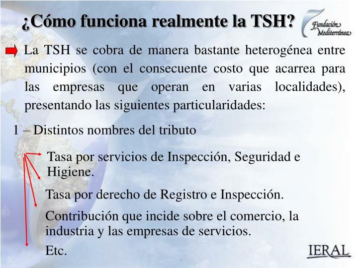 La TSH se cobra de manera bastante heterogénea entre municipios (con el consecuente costo que acarrea para las empresas que operan en varias localidades), presentando las siguientes particularidades: