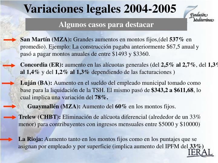 Variaciones legales 2004-2005