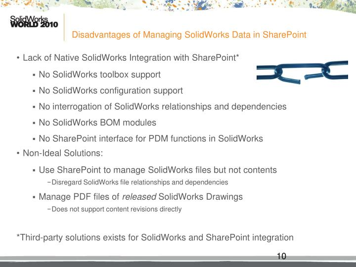 Disadvantages of Managing SolidWorks Data in SharePoint