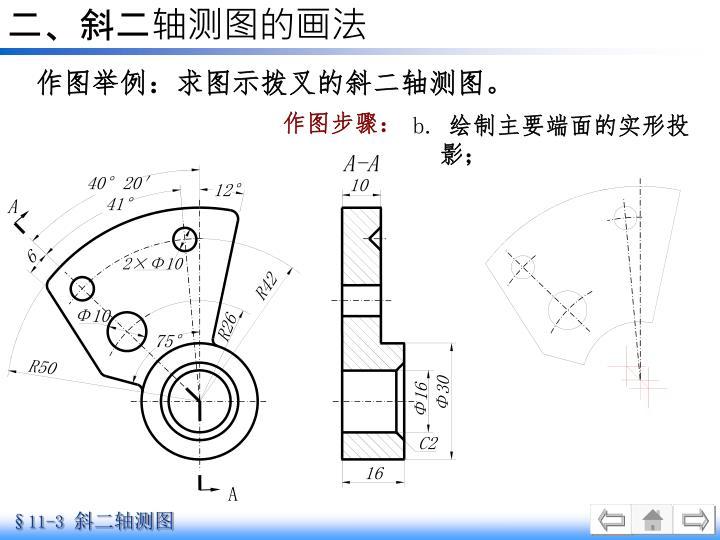 二、斜二轴测图的画法