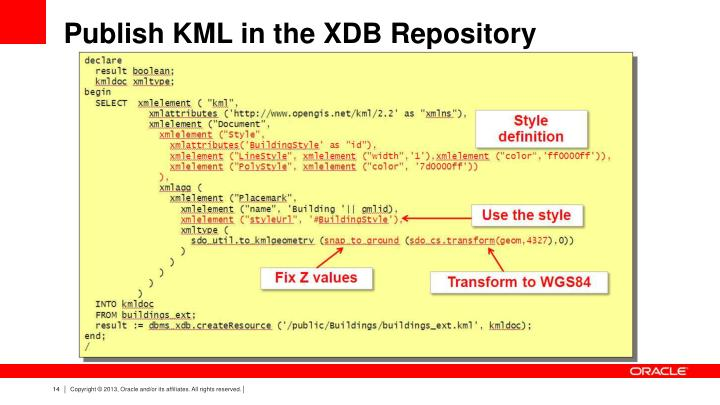 Publish KML in the XDB Repository