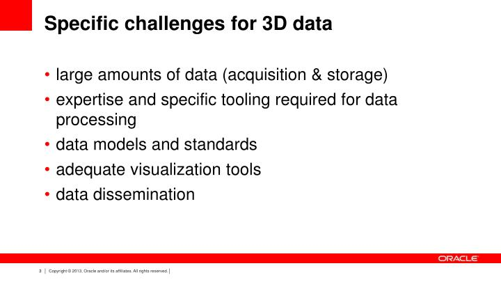 Specific challenges for 3d data