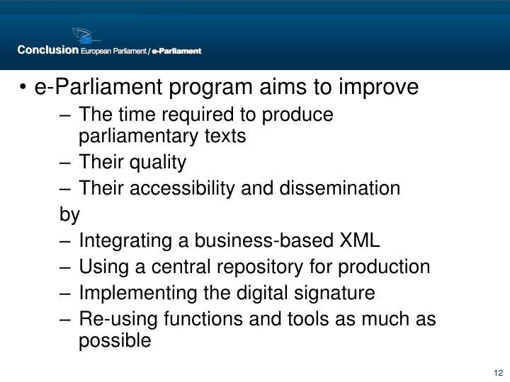 e-Parliament program aims to improve